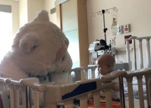 Beary the adorable Polar Bear Mascot visits Beaumont children's hospital