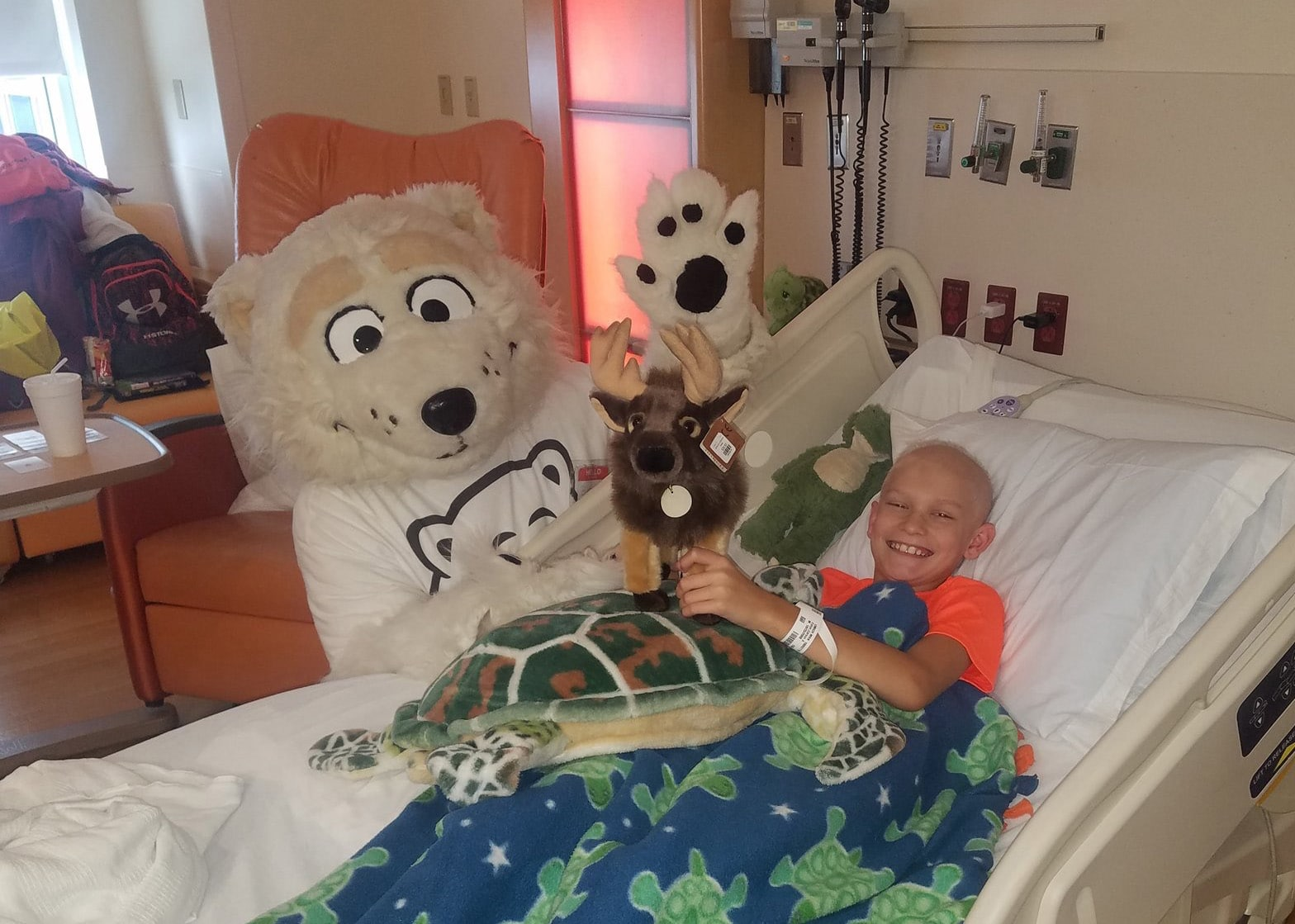 Beary the adorable Polar Bear Mascot visits Beaumont children's hospital