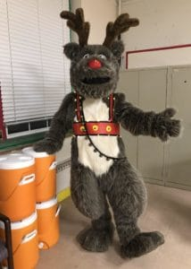 Reindeer Character mascot costume at Christmas Light Switch on