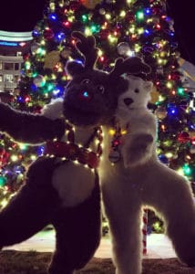 Polar Bear, Reindeer mascot characters at Christmas lights switch on event