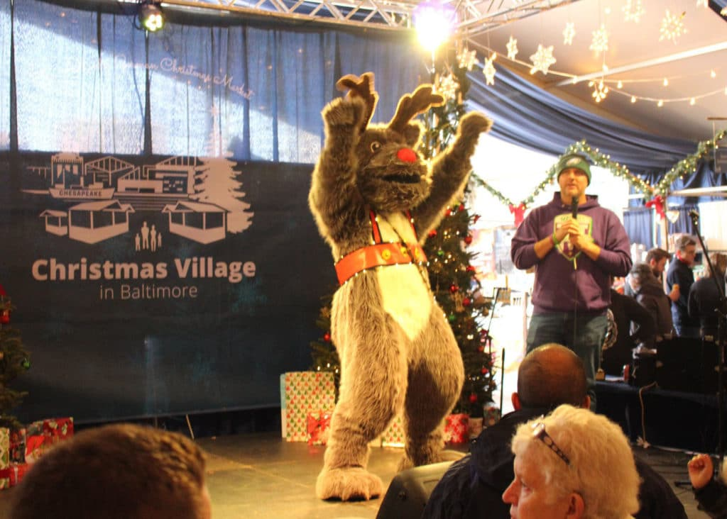 Baltimore Christmas village Rudolph Reindeer dancing Mascot Costume
