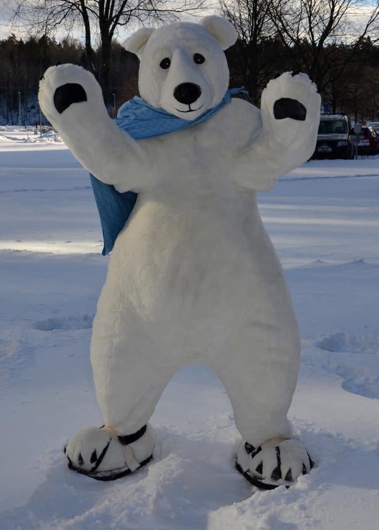 Avalanche Toy Polar Bear Mascot enjoys the snow and greeting guests