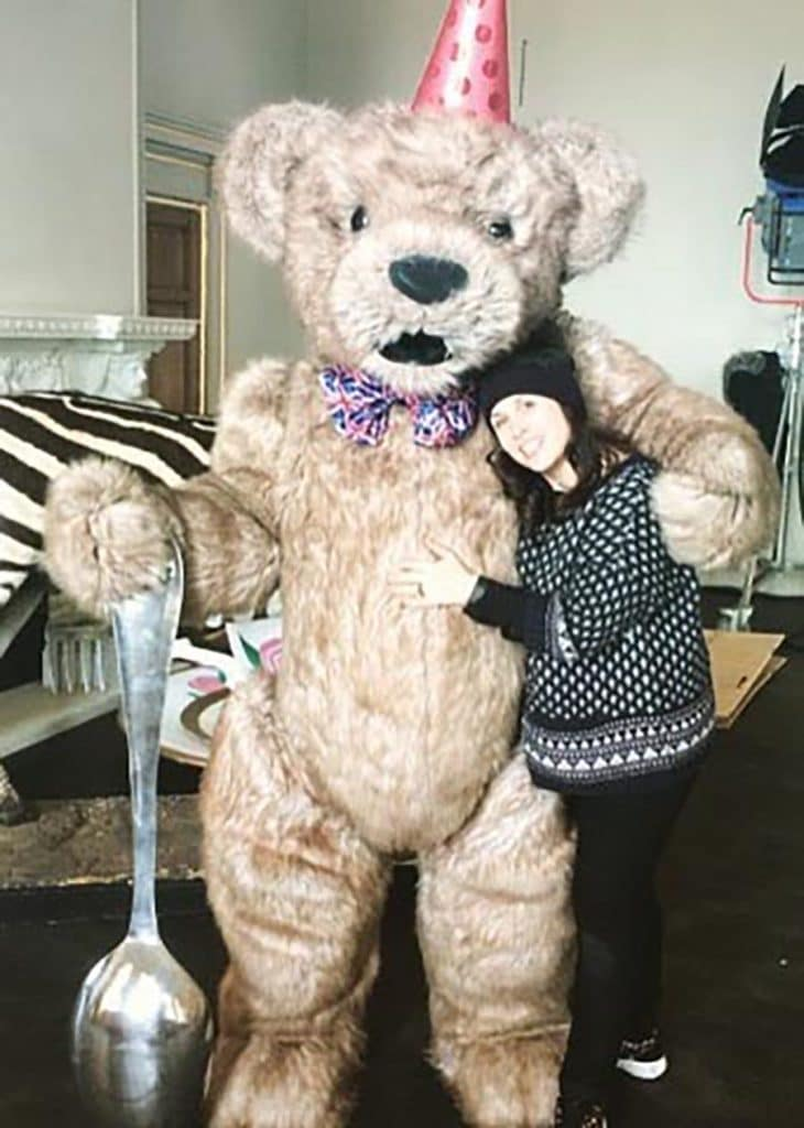 realistic teddy bear costume Behind the scenes