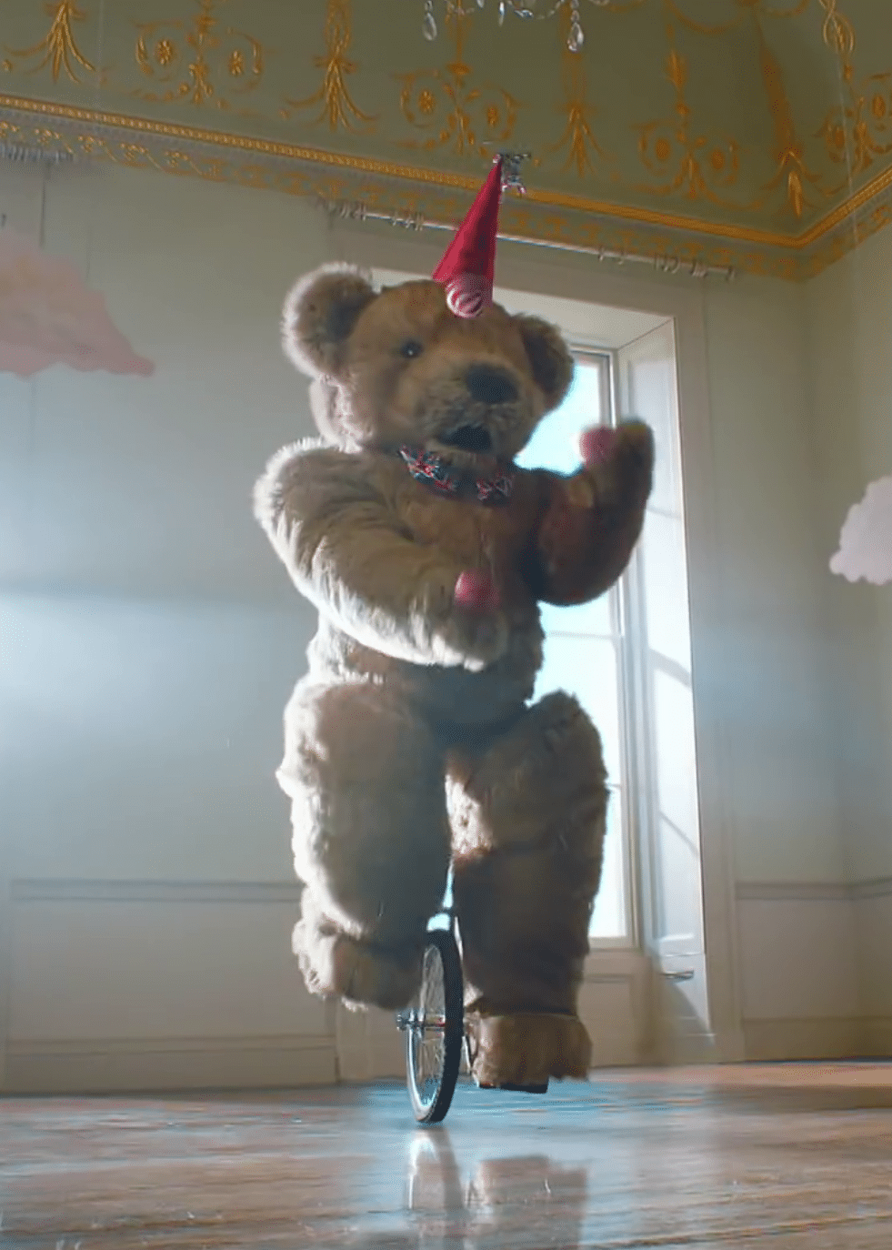 Bentley the Bear riding a unicycle as seen in the 2016 Britain's Got Talent Promo Character mascot costume teddy bear
