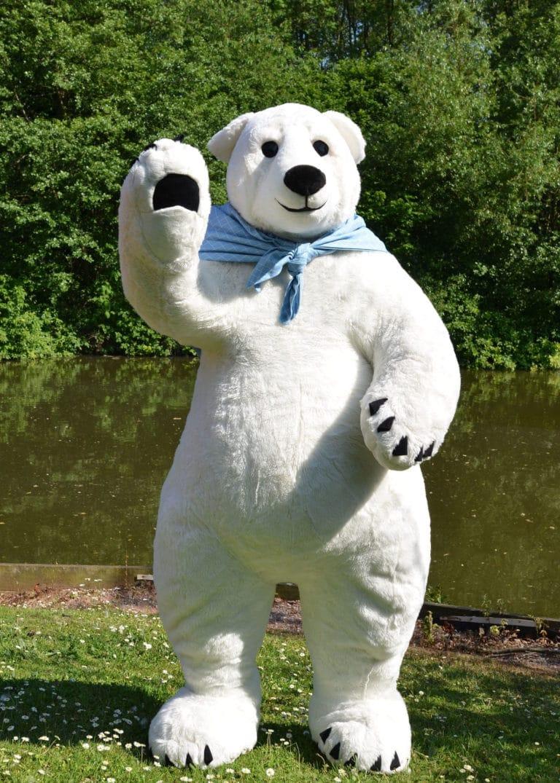 Larger than life Avalanche Polar Bear Mascot enjoying the spring morning sunshine