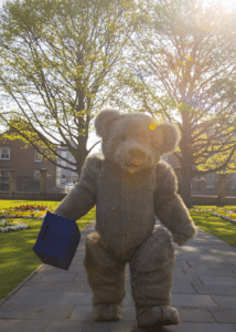 Bentley the Bear character visits the park for a stroll