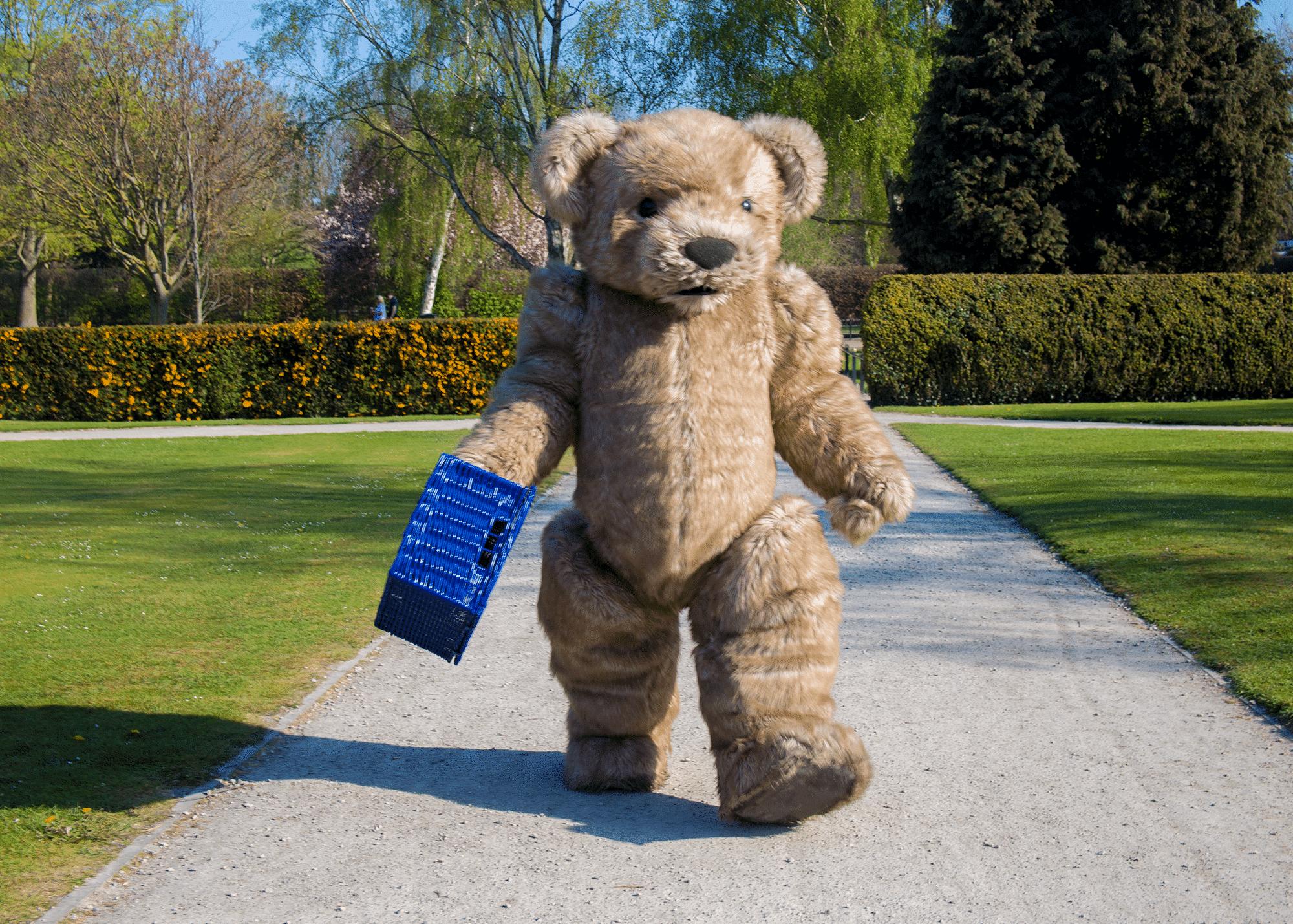 Realistic teddy bear costume filming