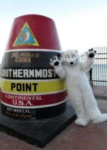 Our official Character Mascot Beary visits the Southern most point Continental USA