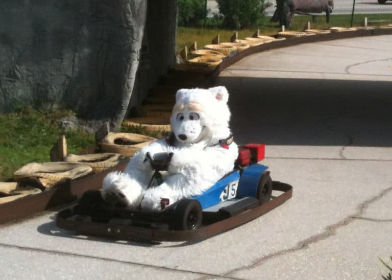 Polar bear character costume gokart