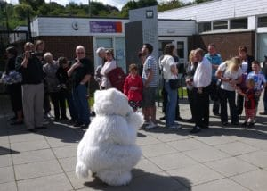 Our very own Mascot Beary visits the Charlie Bear signing Event