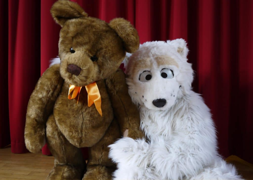 Our very own Mascot Beary poses with a Charlie Bear Teddy at Charlie Bear signing Event
