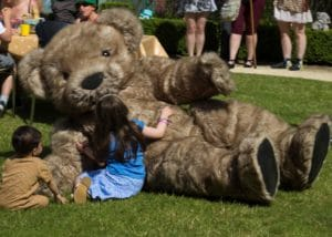Giant Teddy Mascot Bentley the Bear making magic at the annual WhizzFizzFest Event