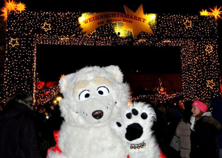 Our friendly Polar Bear on vacation to the Christmas Markets in Cologne Germany