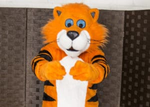 A vibrant Tiger Mascot Costume suit prop for a rental by Mascot Ambassadors