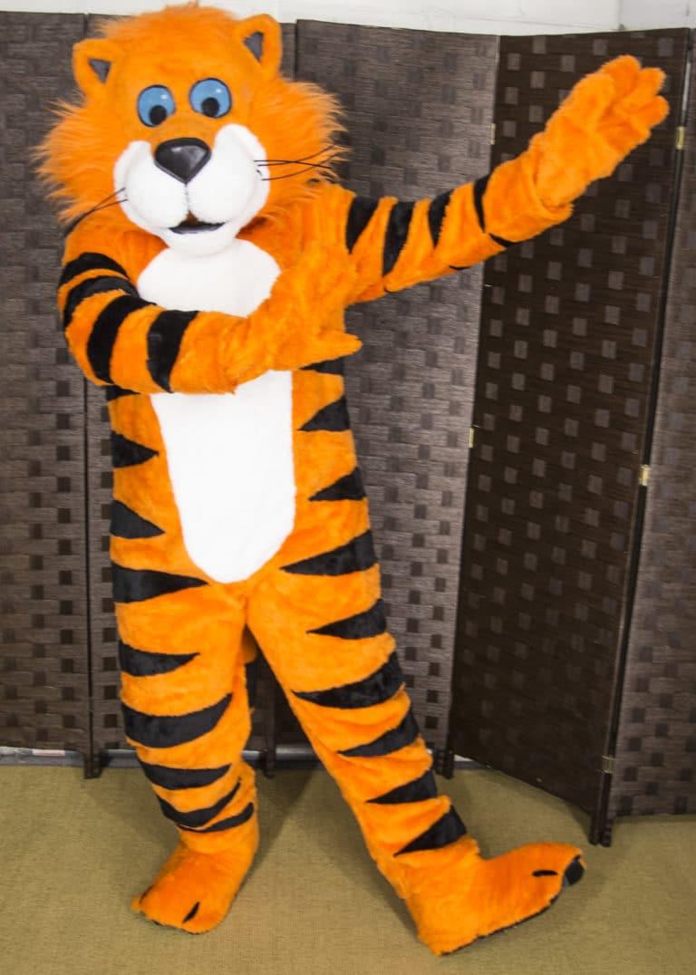 A vibrant Tiger Mascot Costume suit prop for a rental by Mascot Ambassadors