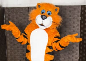 A cheerful Tiger Mascot Costume suit for hire by Mascot Ambassadors