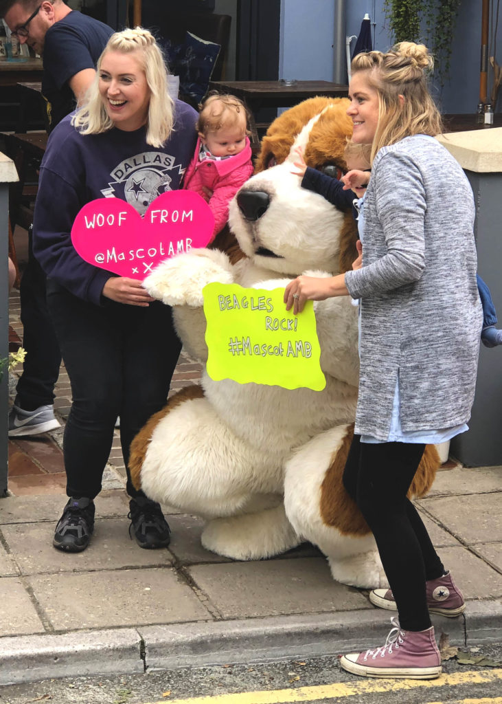Regal the beagle Mascot costume in Tenby Wales